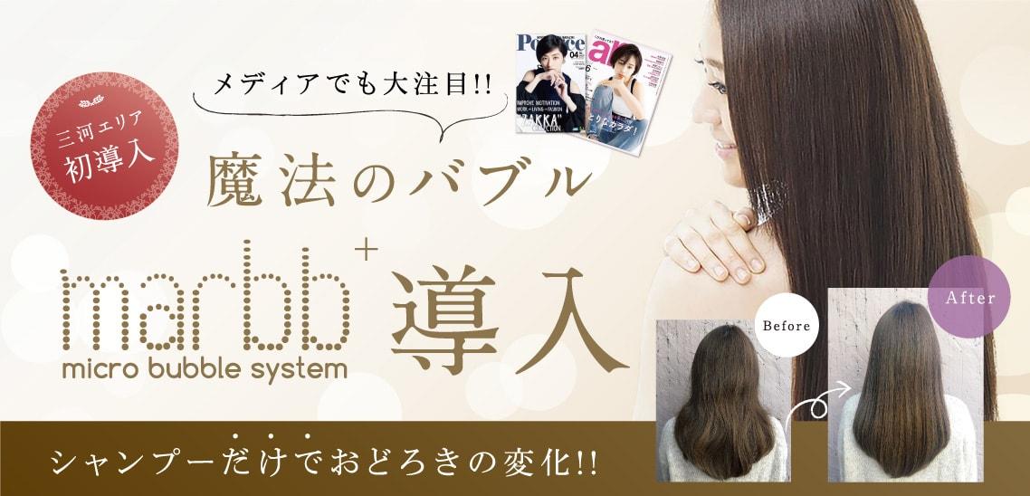 三河エリア初導入 メディアでも大注目!!魔法のバブル marbb導入 シャンプーだけでおどろきの変化!!